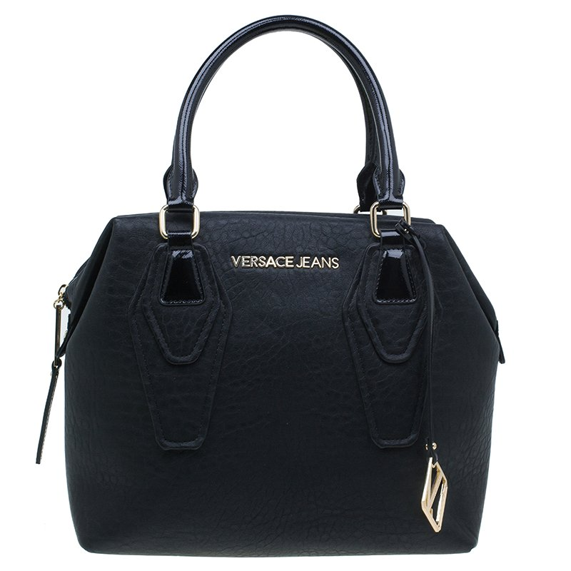 Versace Jeans Black Crinkled Leather Logo Charm Tote