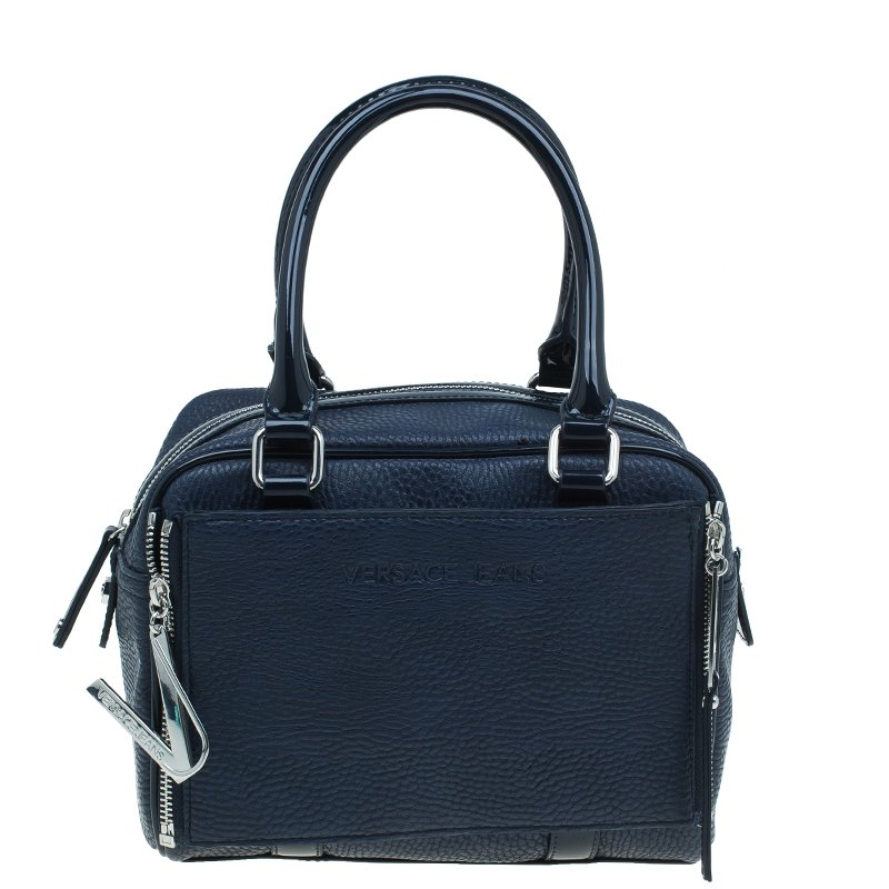 Versace Jeans Navy Blue Pebbled Leather Bowling Bag