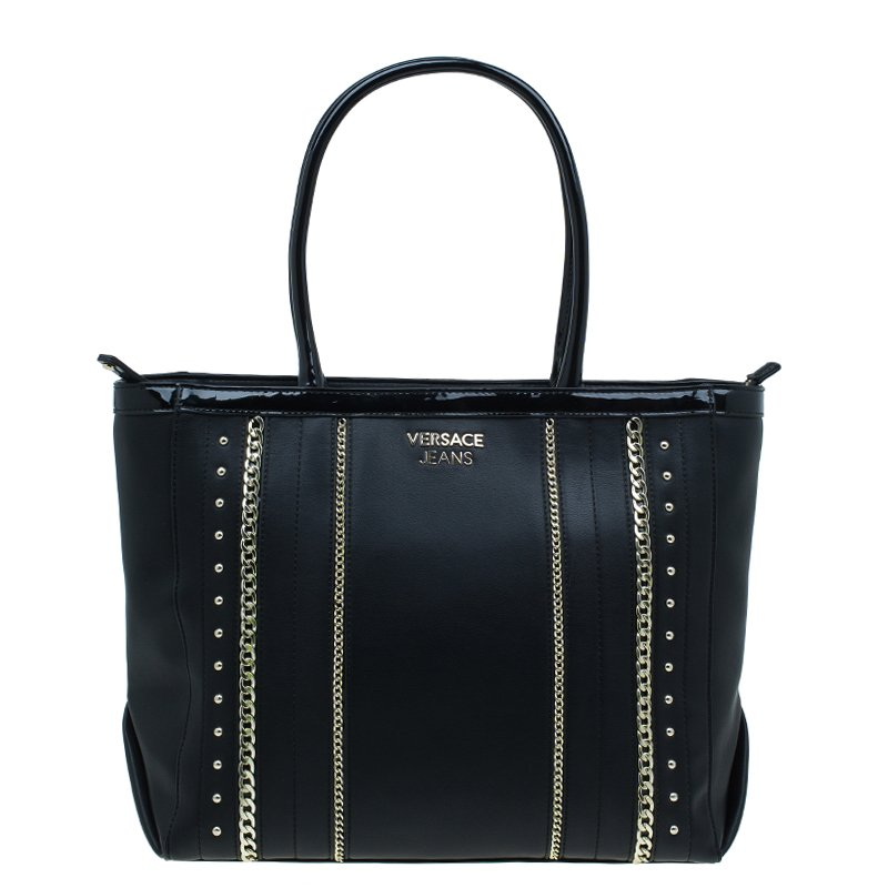Versace Jeans Black Leather Large Chain Embellished Shopping Tote