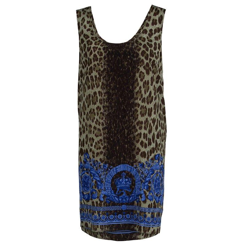 Versace Blue Animal Print Sleeveless Silk Dress M