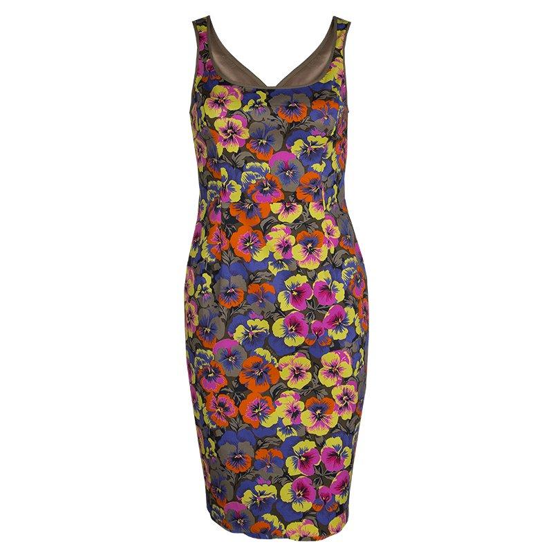 Versace Multicolor Floral Print Sleeveless Dress S