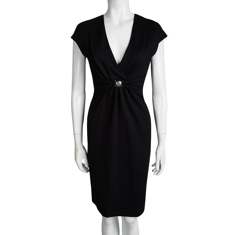 newest 0a733 f7c18 Versace Collection Black Logo Buckle Detail Abito Donna Jersey Dress M