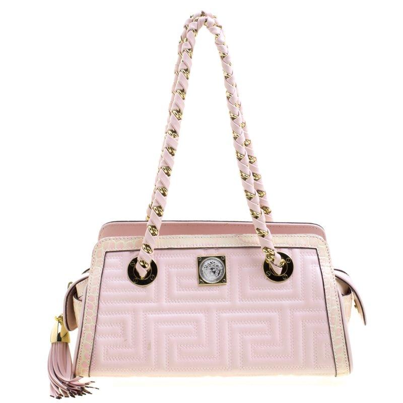 65a7a1918df ... Versace Pink Croc Embossed Trim Leather Signature Shoulder Bag.  nextprev. prevnext