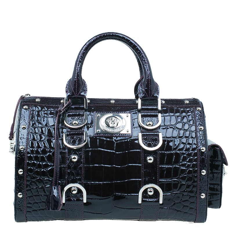 7a5976174857 Buy Versace Purple Croc Embossed Patent Leather Snap Out Of It ...