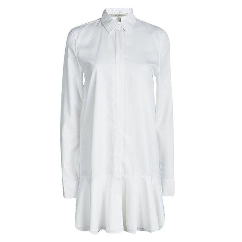 6a37ee9d2e8 Buy Victoria Beckham White Ruffle Bottom Shirt Dress M 93201 at best ...