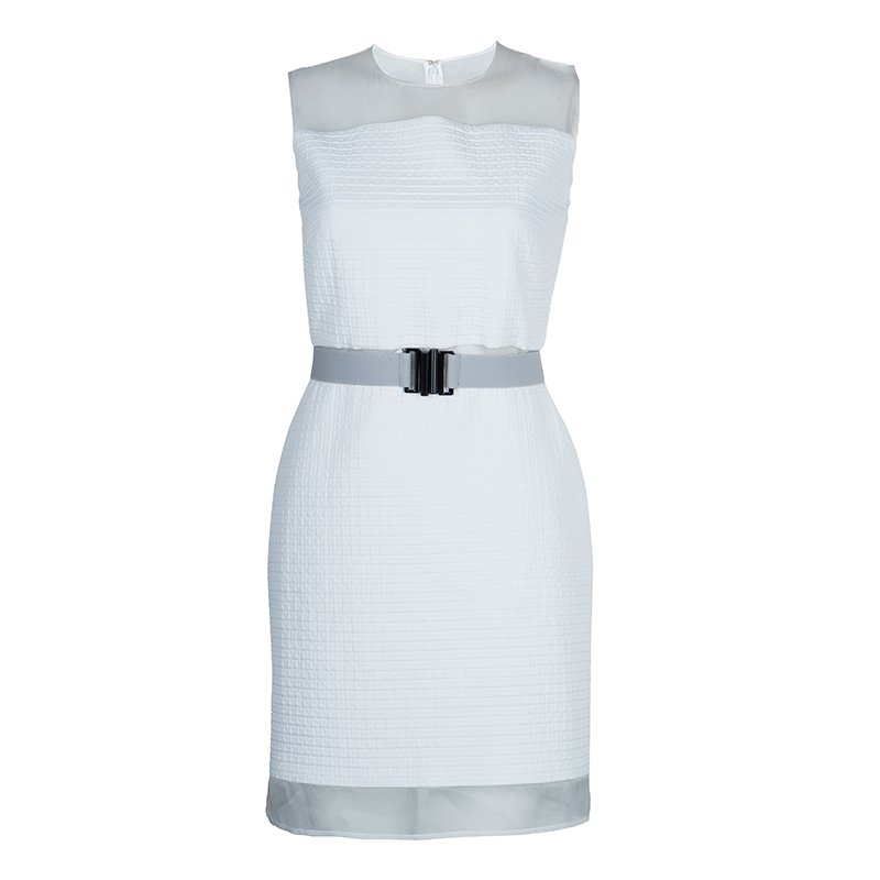 Victoria Victoria Beckham White Quilted Sheer Organza Insert Sleeveless Dress S