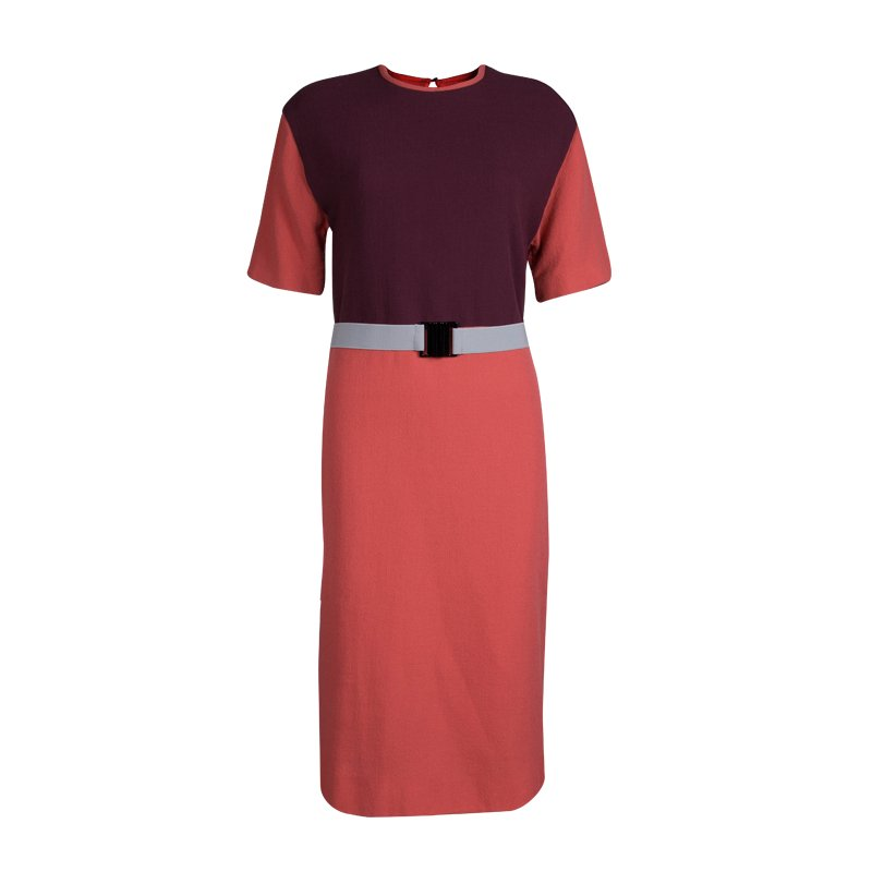 Victoria Victoria Beckham Colorblock Knit Belted Shift Dress M