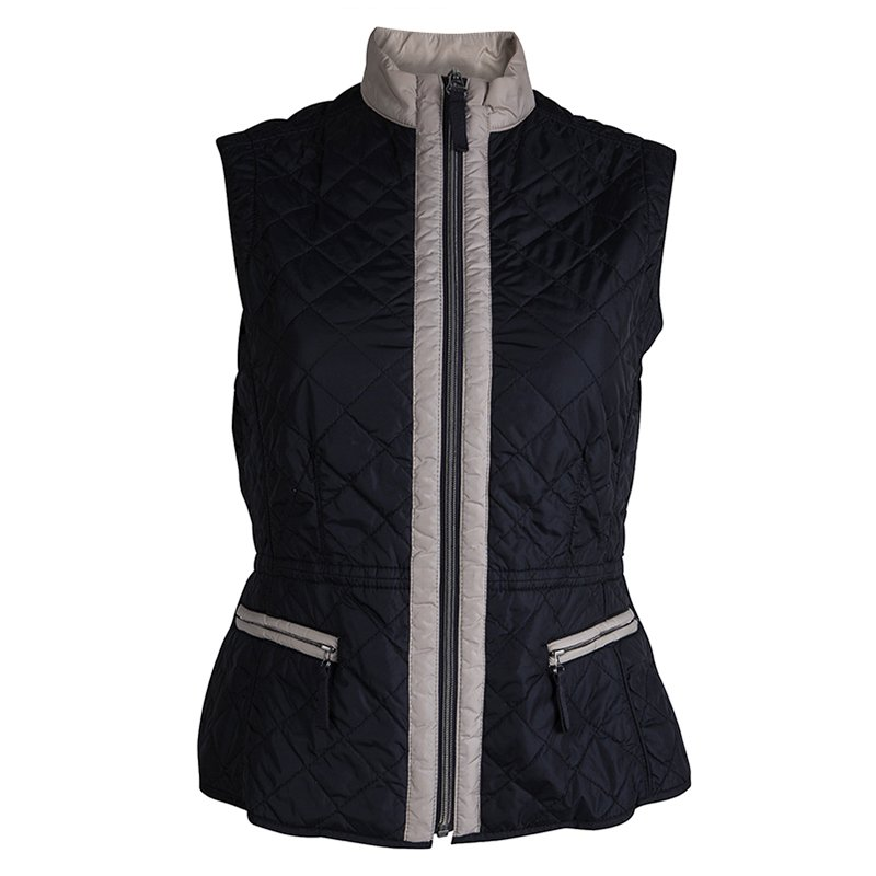 Weekend By Max Mara Navy Blue Sleeveless Quilted Jacket XS