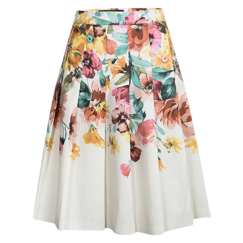 Weekend By Max Mara Multicolor Floral Printed Pleat Detail Molina Skirt M