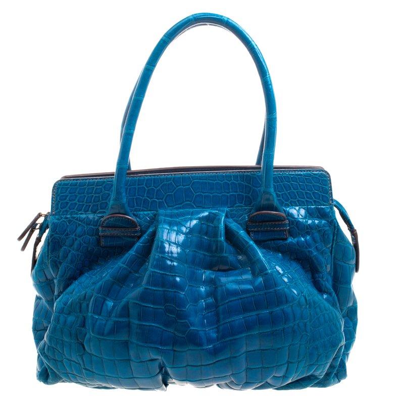 Zagliani Blue Crocodile Custom Made Limited Edition Bag
