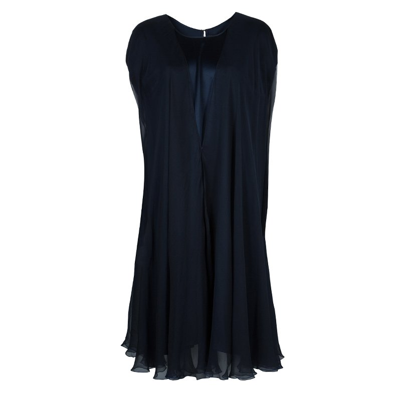 Zuhair Murad Navy Blue Chiffon Overlay Cape Dress L