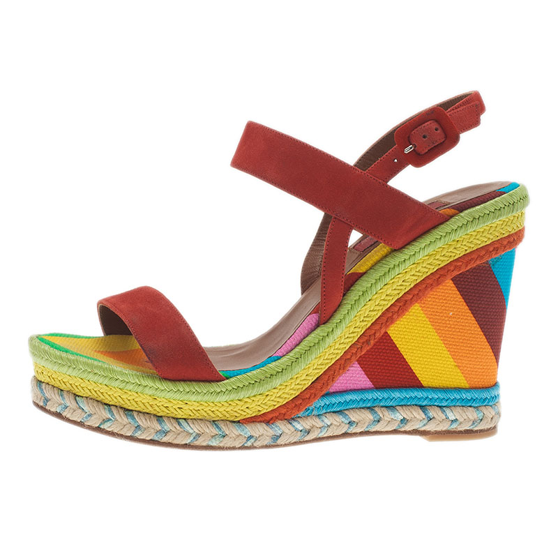 Valentino Multicolor Canvas Suede Wedge Sandals Size 36.5