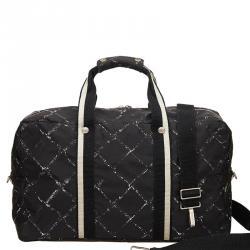 93457778ae1e9a Chanel Black Nylon Old Travel Line Duffel Bag