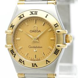 Omega Gold 18K Yellow Gold and Stainless Steel Constellation 795.1203 Women's Wristwatch 22 mm