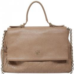 Carolina Herrera Beige Leather Minuetto Flap Bag