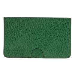 hermes women's dark green leather card holder - dark green