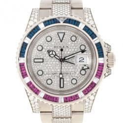 Rolex Diamond White Gold GMT-Master II Mens Wristwatch 40 MM