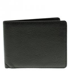 Louis Vuitton Black Taiga Leather Three Flap Wallet