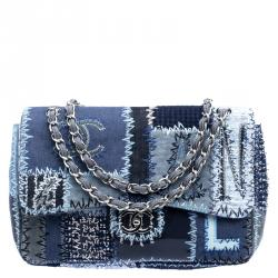 5e929aecdbd Chanel Blue Fabric Canvas and Leather Patchwork Jumbo Classic Flap Bag