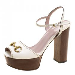 7b02ba863be Gucci White Leather Lifford Horsebit Ankle Strap Block Heel Sandals Size 38