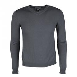 Giorgio Armani Grey Cashmere V-Neck Long Sleeve Sweater M