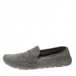 c83c881fc3e Louis Vuitton Grey Damier Embossed Suede Shade Penny Loafers Size 45