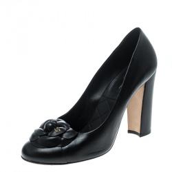 dc718846f6f Buy Chanel Black Satin Camellia Embellished Block Heel Pumps Size ...