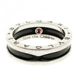 bvlgari save the children silver ring size 58