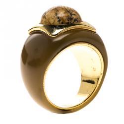 Ch Carolina Herrera Brown Cabochon Gold Tone Ring Size 54 5