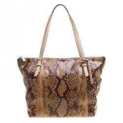 Michael Kors Brown Python Embossed Leather Top Zip Jet Set Tote