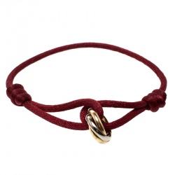 Cartier Trinity De Three Tone 18k Gold Red Adjule Cord Bracelet