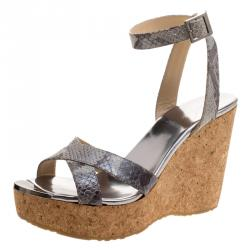 3beb6714389 Jimmy Choo Grey Snake Embossed Leather Papyrus Cork Wedge Ankle Strap  Sandals Size 39