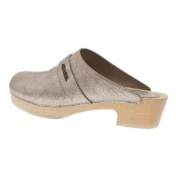 Chanel Metallic Silver Leather Clogs Size 38.5