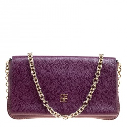 Carolina Herrera Purple Leather Chain Clutch