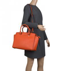 6c5dc3c023d1 ... mini saffiano leather messenger bag black 88a7b 1211f; sweden michael  michael kors orange saffiano leather medium selma tote 90ece 6badb