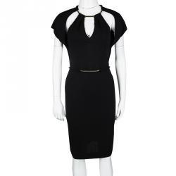 873b8362ff7 Gucci Black Knit Metal Embellished Cutout Detail Belted Dress S