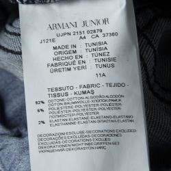 Armani Junior Indigo Faded Effect Elasticized Logo Waistband Detail Distressed Jeans 11 Yrs