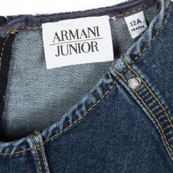 فستان أرماني جونيور أزرار كشكشة بلا أكمام دنيم مغسول داكن إنديغو 12 سنة