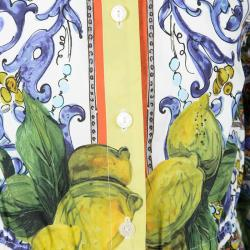 Dolce and Gabbana Multicolor Majolica and Lemon Print Cotton Playsuit 6 Yrs