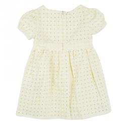 Gucci Kids Yellow Cutout Lace Trim Detail Cotton Sangallo Dress 6-9 M