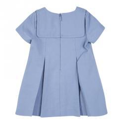 Gucci Kids SS'15 Sky Blue Button Detail Pleated Cotton Dress 6-9 M