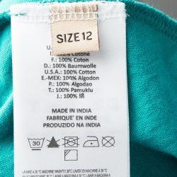 John Galliano Kids Aqua Blue Printed Cotton Halter Dress 10 Yrs