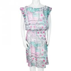 John Galliano Kids Multicolor Gazette Print Gathered Waist Dress 14Yrs