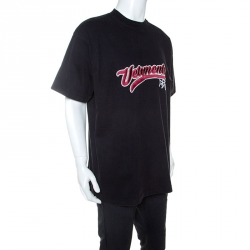 Vetements Black Washed Out Cotton Oversized Embroidered T-Shirt XS