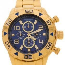 Akribos XXIV Blue Stainless Steel AK814YGBU Chronograph Men's Wristwatch 50MM