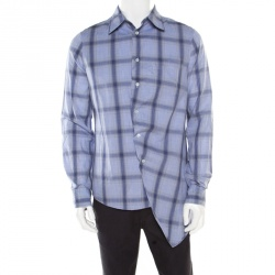 2f3fdb212fa Alexander McQueen Blue Cotton Tartan Plaid Asymmetric Hem Draped Shirt M