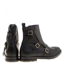Alexander McQueen Black Brogue Leather Wingtip Buckle Biker Boots Size 44