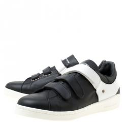 Alexander McQueen Monochrome Leather Velcro Sneakers Size 45