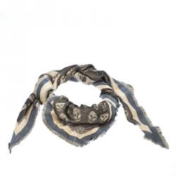Alexander McQueen Grey Skull Pattern Jacquard Triangle Fringed Scarf
