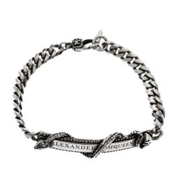 Alexander McQueen Logo Skull Snake Bar Silver Tone Chain Bracelet